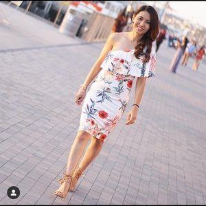One shoulder floral bodycon dress